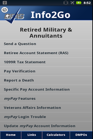 DFAS Info2Go - screenshot