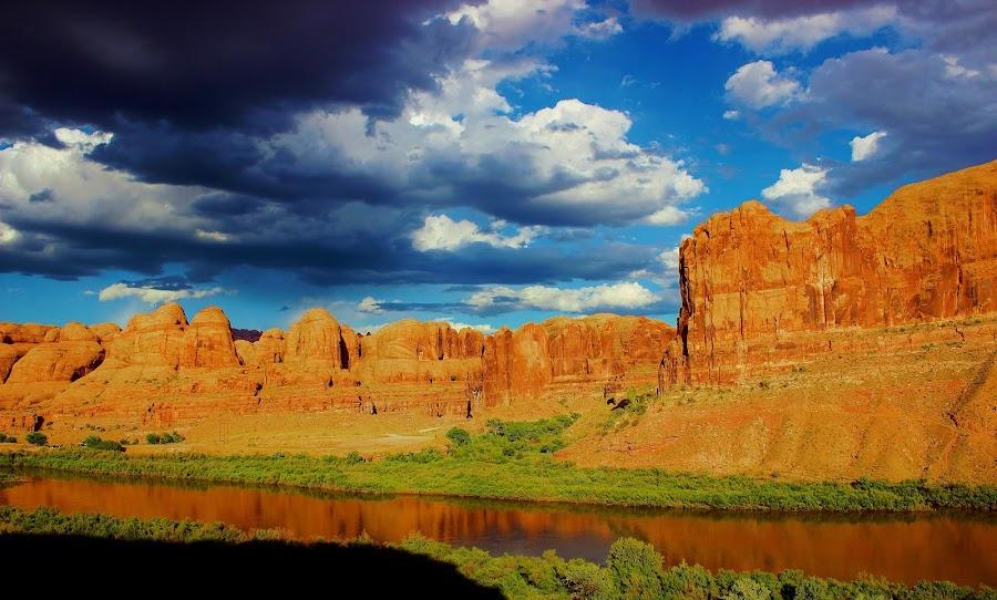 River in the Desert by Skylar Marble - Landscapes Deserts ( clouds, cliffs, desert, sandstone, rock, river, black and white, animal )