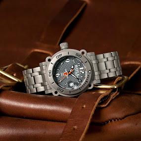Bull titanium watch by Joe Eddy - Artistic Objects Clothing & Accessories ( titanium, watch, wrist, steel, leather )