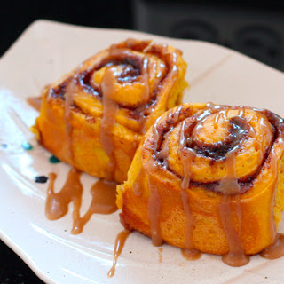 Amish Pumpkin Cinnamon Rolls with Caramel Icing