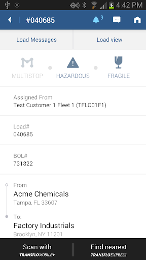 TRANSFLO Mobile+ screenshot