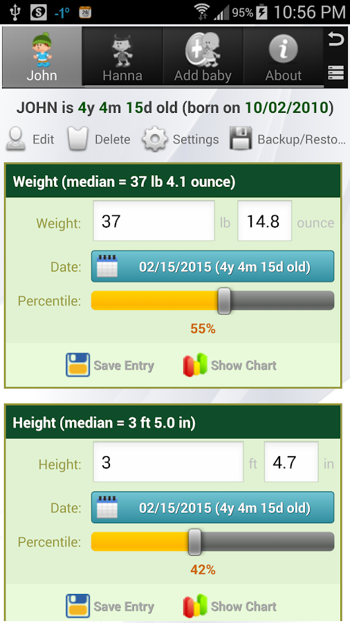 Growth Chart Trial - screenshot