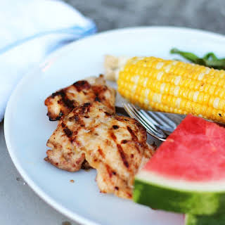Grilled Chicken Thighs with Apricot-Miso Glaze.