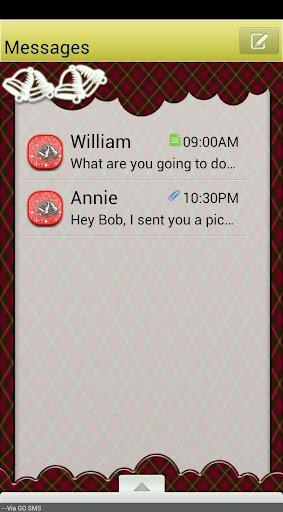 GO SMS THEME PlaidSleighBells