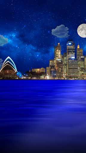 Night city from sea wallpaper