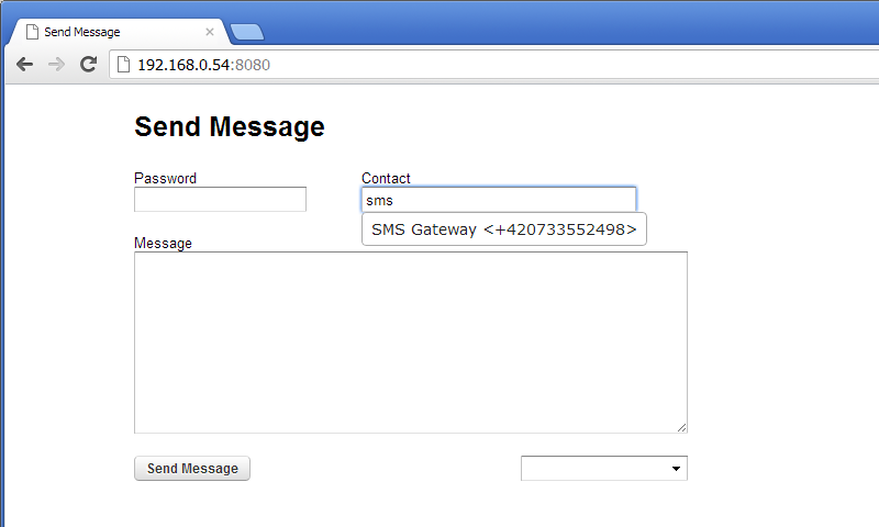 Send Message + SMS Server - screenshot
