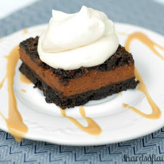 Pumpkin Pie Brownies With Dulce de Leche Whipped Cream