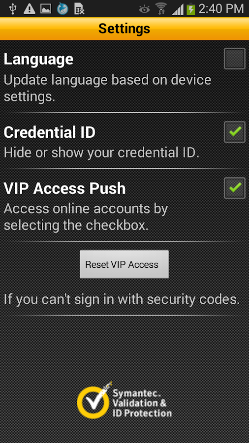 VIP Access - screenshot