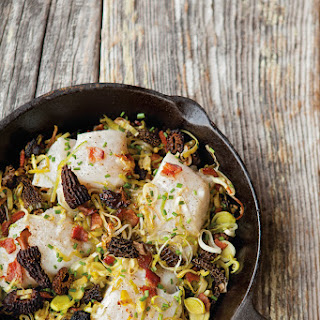 Baked Cod with Leeks, Morels and Bacon.