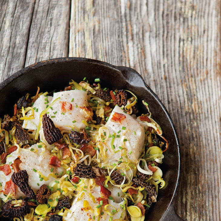 Baked Cod with Leeks, Morels and Bacon Recipe