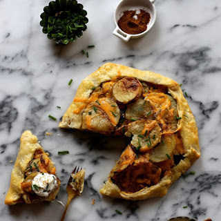 Roasted Potato Galette with cheddar and chives.