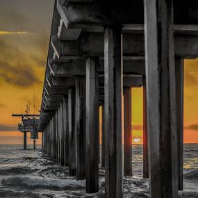 by Lance Emerson - Buildings & Architecture Bridges & Suspended Structures ( san diego, scripps pier, sunset, la jolla )