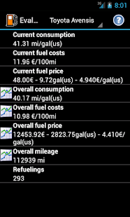Refueling database - screenshot thumbnail