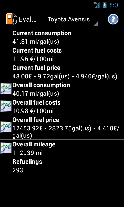 Refueling database - screenshot