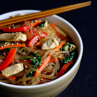 Asian Sweet Potato Noodles Recipe with Chicken & Vegetables