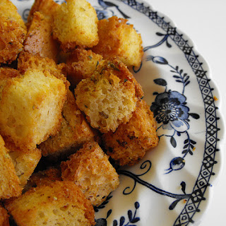 Crouton Or Cubes Of Fried Bread With Olive Oil, Garlic And Oregano.