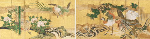Folding Screen with Design of Chinese Phoenix