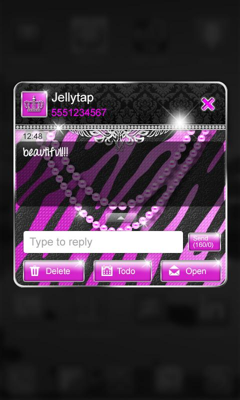 ★Purple★Luxury Theme Zebra SMS - screenshot