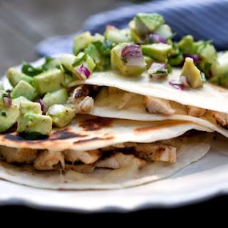 Chicken Quesadillas With Avocado-Cucumber Salsa