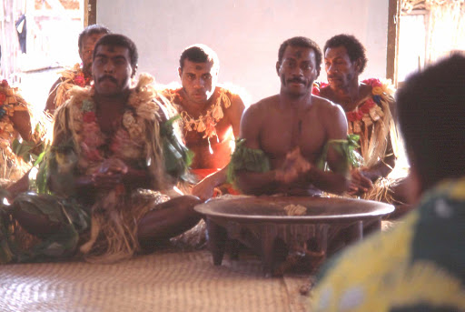 kava-ceremony-mamanuca-islands-fiji - A kava ceremony, this one in the Mamanuca Islands of Fiji. No flash photography was allowed inside during the ceremony.