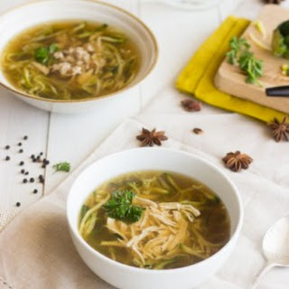 Chicken Zoodle Soup {Gluten Free, Low calorie, Low Fat + High Protein}.
