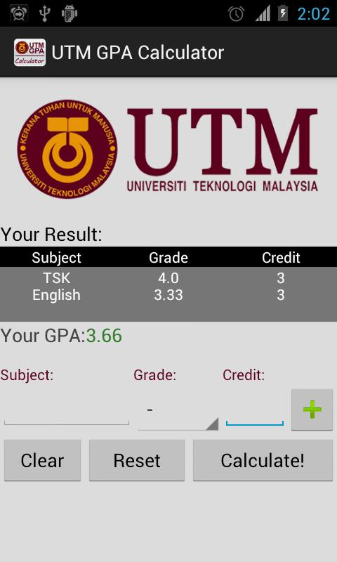 UTM GPA Calculator - screenshot