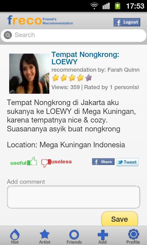 Freco :friend's recommendation- screenshot