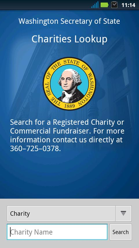 WA State Charities Lookup - screenshot