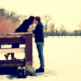 A winters kiss by Gabi Dearing - People Couples ( love, kiss, winter, snow, couple )