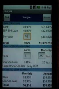 SBA 504 Loan Calculator- screenshot thumbnail