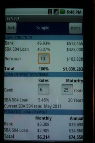 SBA 504 Loan Calculator- screenshot