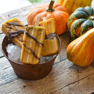 Pumpkin Chocolate Popsicles.