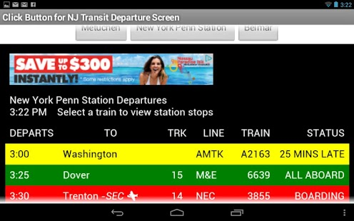 NJ Transit Departures - screenshot thumbnail
