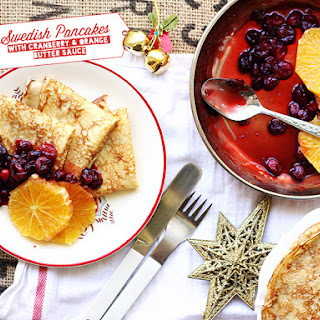 Swedish Pancakes with Cranberry & Orange Butter Sauce