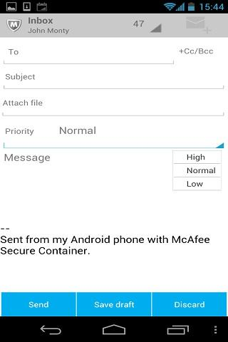 McAfee Secure Container - screenshot
