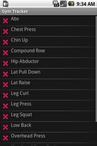 Gym Tracker - screenshot