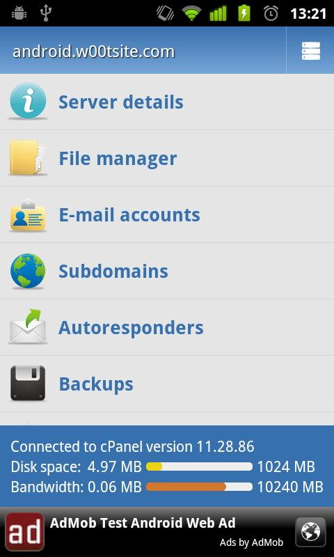 Control Panel for cPanel- screenshot