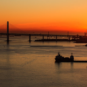 Sunrise in Orange by Lenny Sharp - Landscapes Sunsets & Sunrises ( sky, harbor, japan, sea, bridge, sunrise, yokohama )
