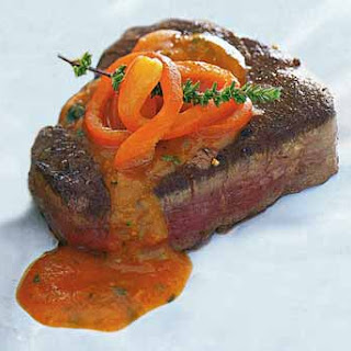 Pan-Seared Filet Mignon with Red Bell Pepper, Tomato, and Basil Sauce.
