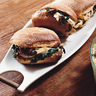 Warm Chicken Sandwiches with Mushrooms, Spinach and Cheese.