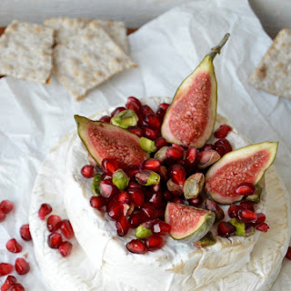 Baked Brie-Camembert Pyramid with Pomegranate & Pistachio