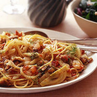 Spaghetti with Sardine-Fennel Sauce and Spinach Salad.