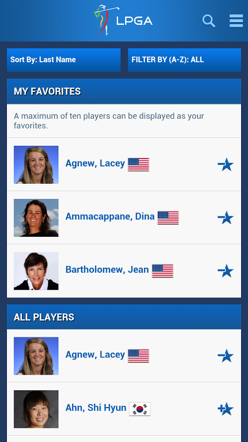 LPGA App - screenshot