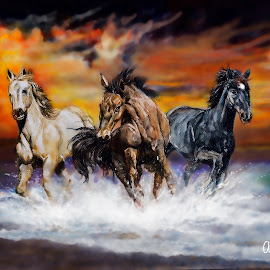 Three Horses by Alfonso Rahardja - Painting All Painting