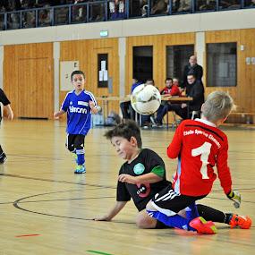 Collision by Marco Bertamé - Sports & Fitness Soccer/Association football ( futsal, ball, hall, football, duel, collision, soccer,  )