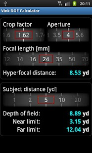 Vink DOF Calculator Lite - screenshot thumbnail