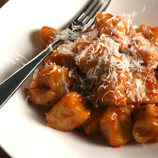 Potato Gnocchi with Tomato-Porcini Sauce.