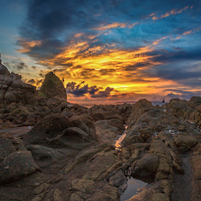 Sky Burnt by Rio Tanusudiro - Landscapes Beaches ( clouds, coral, sunset, cloudy, rock, beach, burn, dusk, light,  )