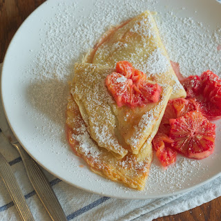 Rosewater Crepes with Blood Orange Compote