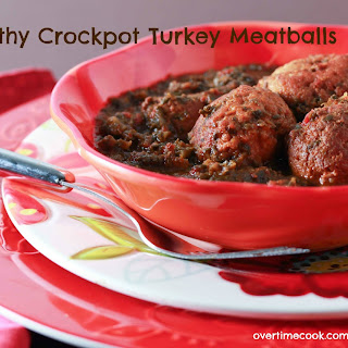 Crock Pot Turkey Meatballs in Tomato-Spinach Sauce